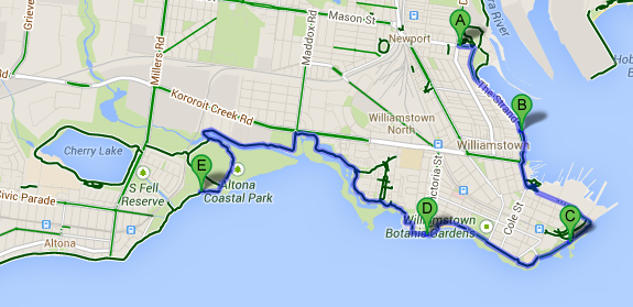 Bike paths from Newport to Altona along the coast